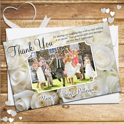 10 Personalised White Roses Wedding Thank you Photo cards N94